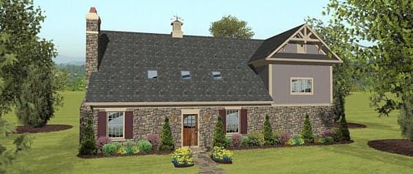 4 Car Garage Apartment Plan 74842 with 2 Beds, 1 Baths, RV Storage Rear Elevation