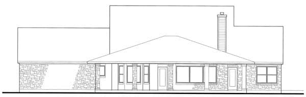 Coastal, Contemporary, Modern House Plan 75111 with 3 Beds, 3 Baths, 3 Car Garage Rear Elevation