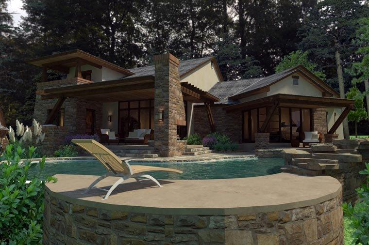 Craftsman, Tuscan House Plan 75132 with 3 Beds, 4 Baths, 2 Car Garage Rear Elevation
