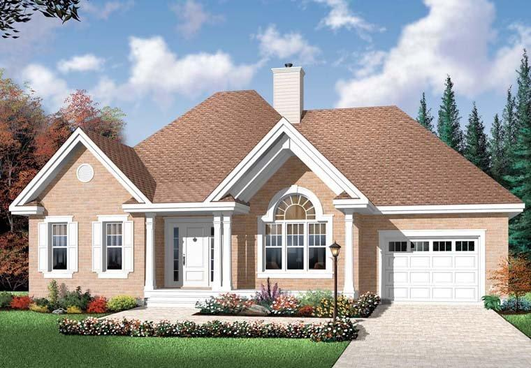 Country House Plan 76352 with 2 Beds, 1 Baths, 1 Car Garage Elevation