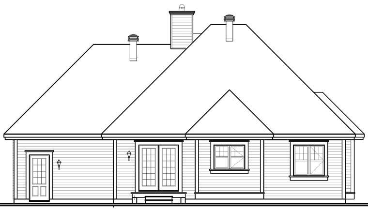 Country House Plan 76352 with 2 Beds, 1 Baths, 1 Car Garage Rear Elevation