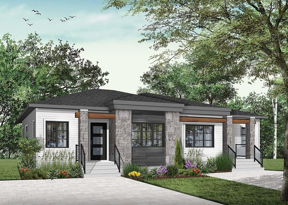 Contemporary, Modern Multi-Family Plan 76548 with 4 Beds, 2 Baths Elevation