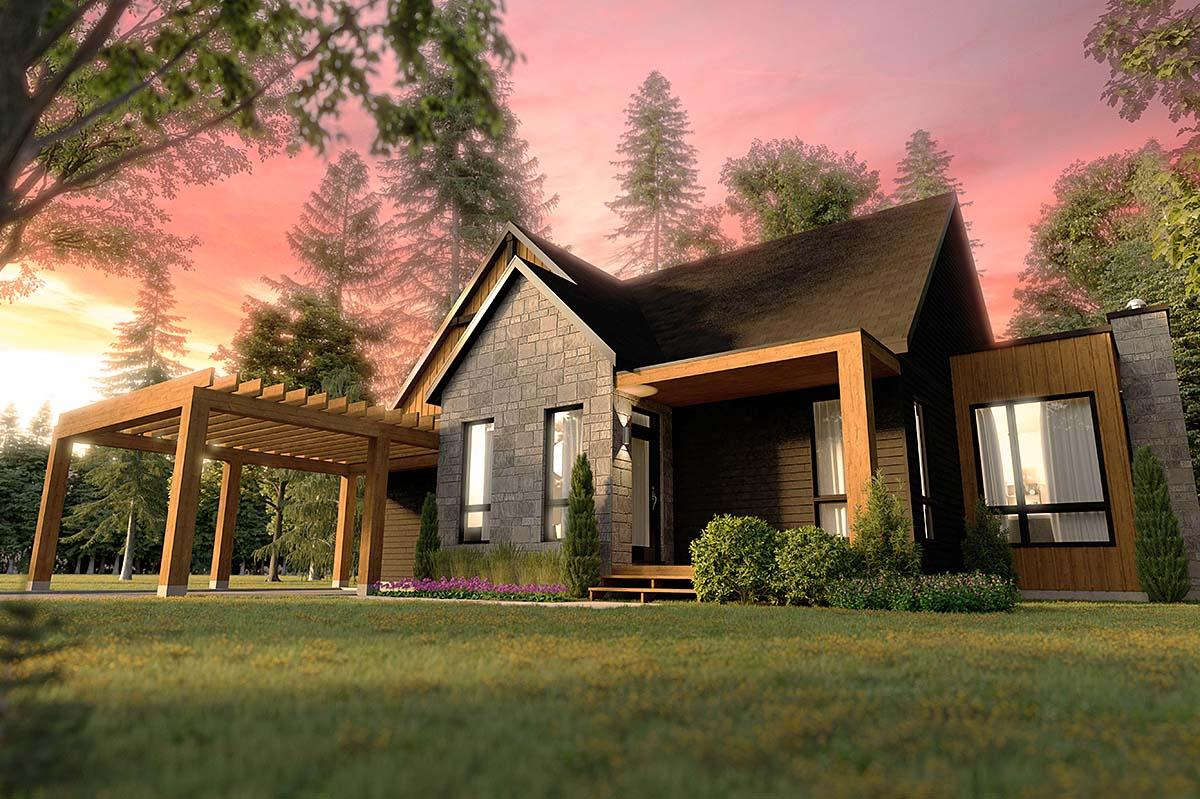 Cabin, Cottage, Craftsman, Ranch House Plan 76553 with 2 Beds, 2 Baths Elevation