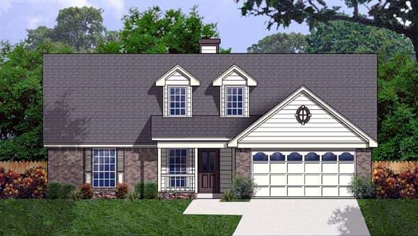 Cape Cod House Plan 77175 with 3 Beds, 2 Baths, 2 Car Garage Elevation
