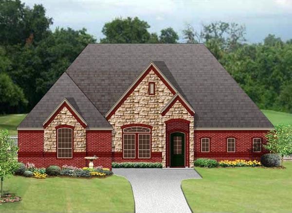 European, Traditional House Plan 79348 with 4 Beds, 2 Baths, 3 Car Garage Elevation