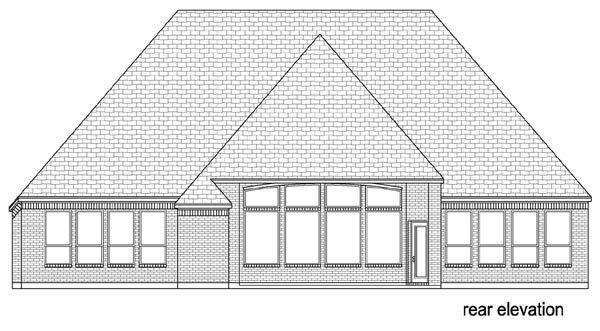 European, Traditional House Plan 79348 with 4 Beds, 2 Baths, 3 Car Garage Rear Elevation