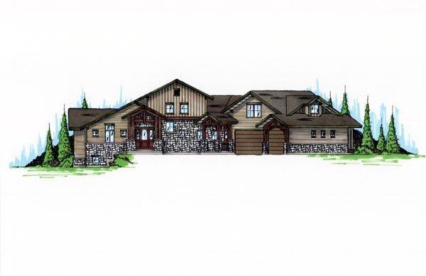 Traditional House Plan 79934 with 4 Beds, 6 Baths, 3 Car Garage Elevation