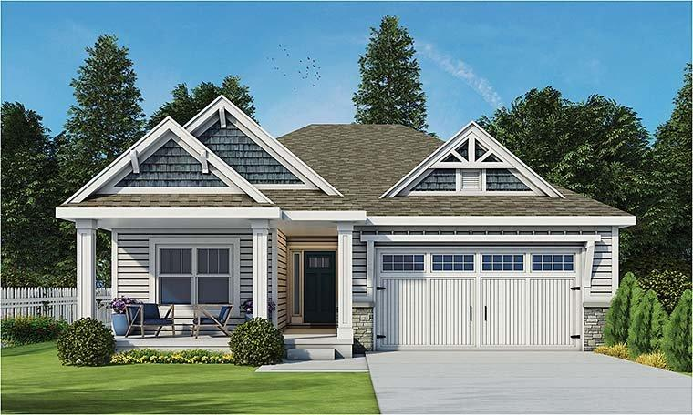 Cottage, Country, Craftsman, Ranch, Traditional House Plan 80406 with 3 Beds, 3 Baths, 2 Car Garage Elevation
