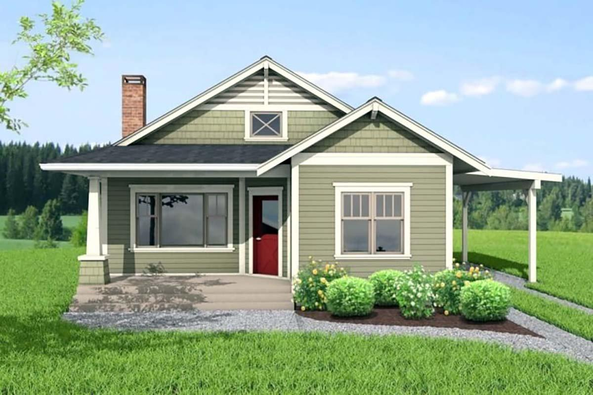 Bungalow House Plan 80504 with 2 Beds, 1 Baths Elevation