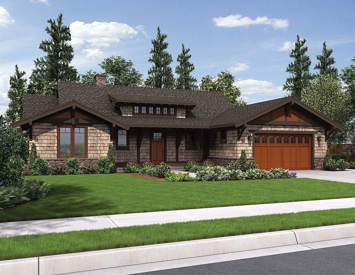 Bungalow, Craftsman House Plan 81229 with 3 Beds, 3 Baths, 2 Car Garage Elevation