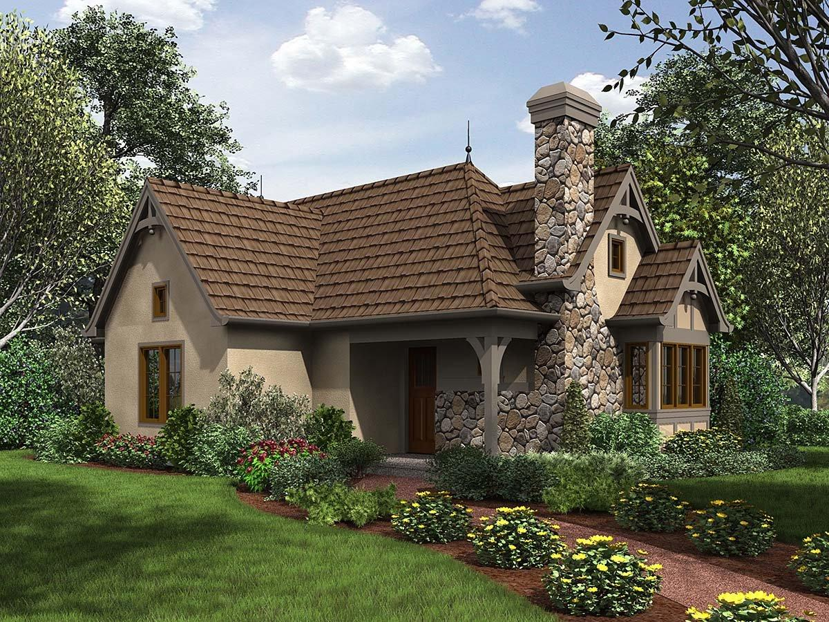 Cottage, French Country, Tudor 0 Car Garage Plan 81234 with 2 Beds, 1 Baths Elevation