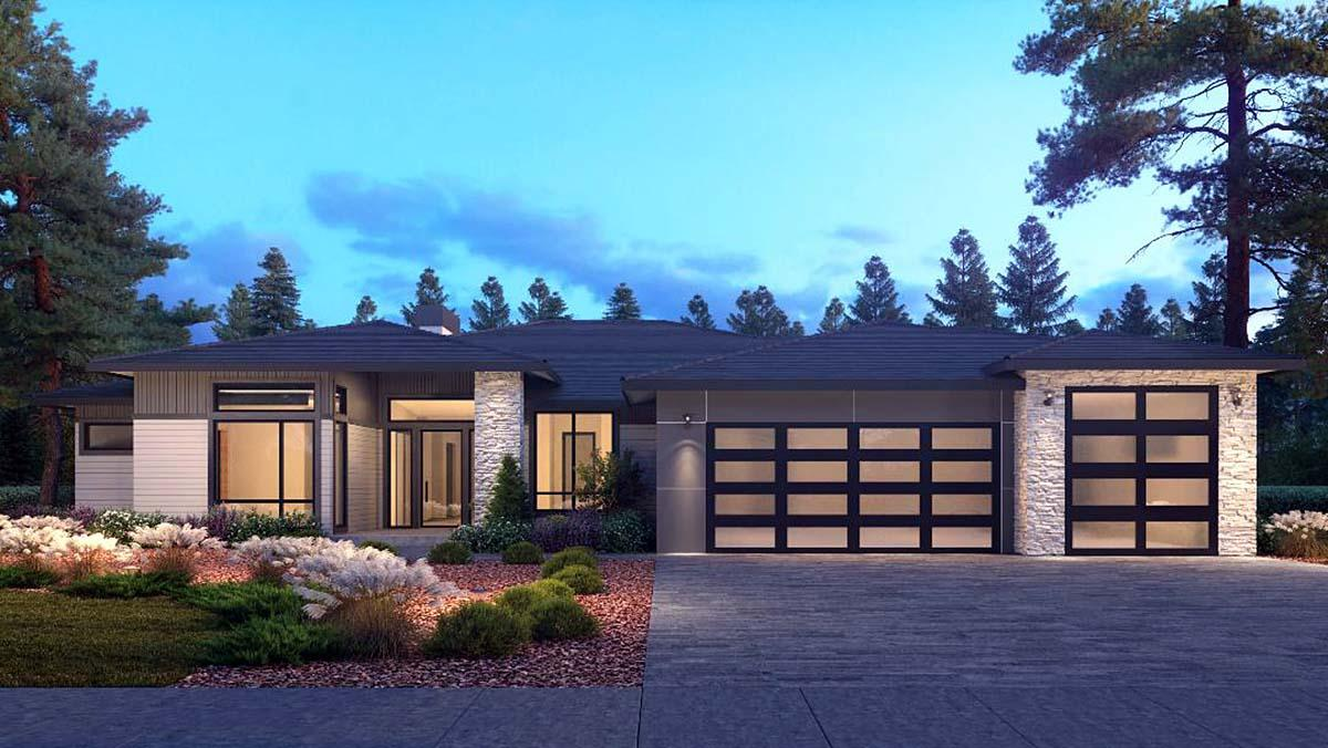 Contemporary, Modern House Plan 81906 with 4 Beds, 4 Baths, 3 Car Garage Elevation