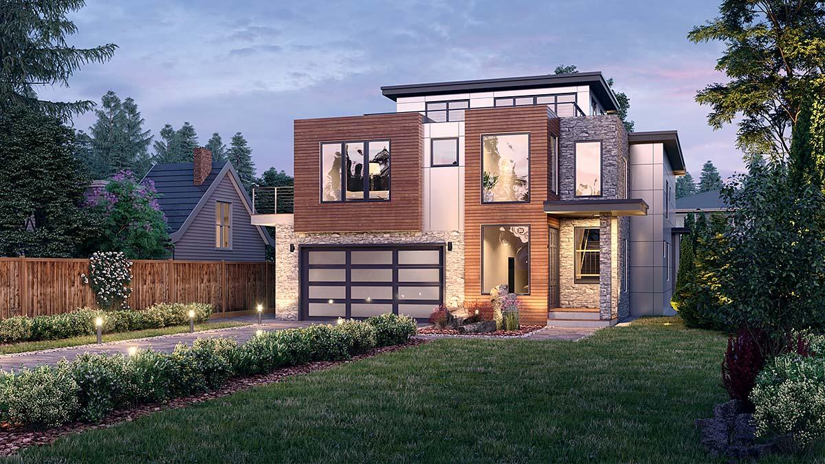 Contemporary, Modern House Plan 81908 with 5 Beds, 4 Baths, 2 Car Garage Elevation