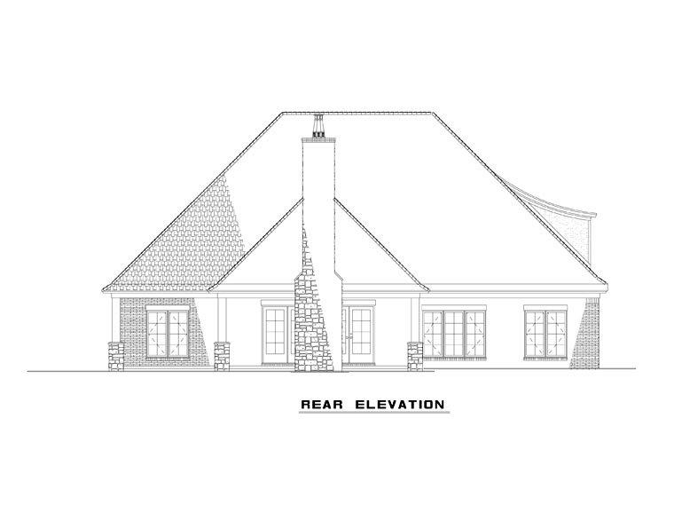 Craftsman, European, French Country House Plan 82165 with 4 Beds, 4 Baths, 2 Car Garage Rear Elevation