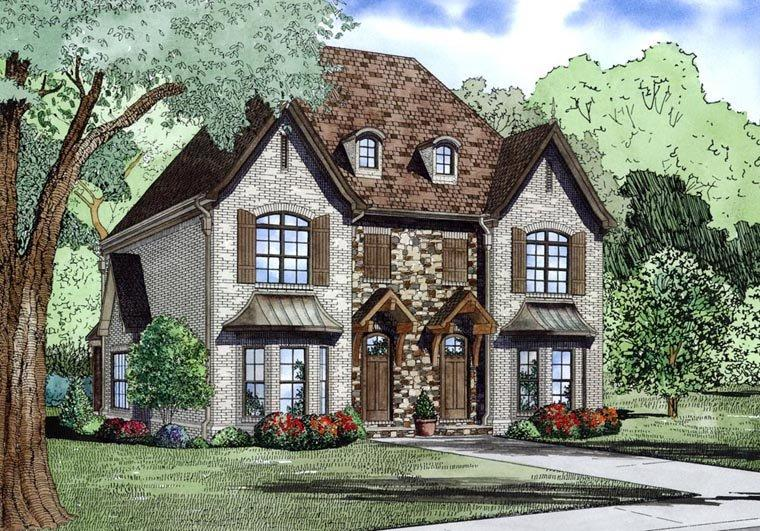 Tudor Multi-Family Plan 82174 with 4 Beds, 6 Baths Elevation