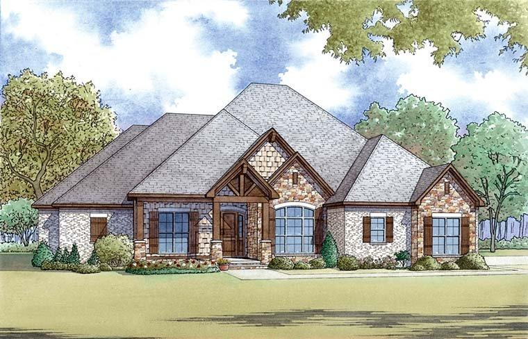 Bungalow, Craftsman, French Country, Traditional House Plan 82477 with 4 Beds, 3 Baths, 3 Car Garage Elevation
