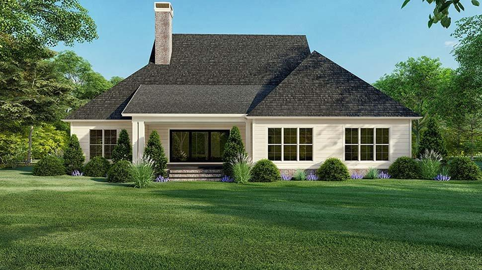 Country, Farmhouse, Southern House Plan 82521 with 3 Beds, 4 Baths, 2 Car Garage Rear Elevation