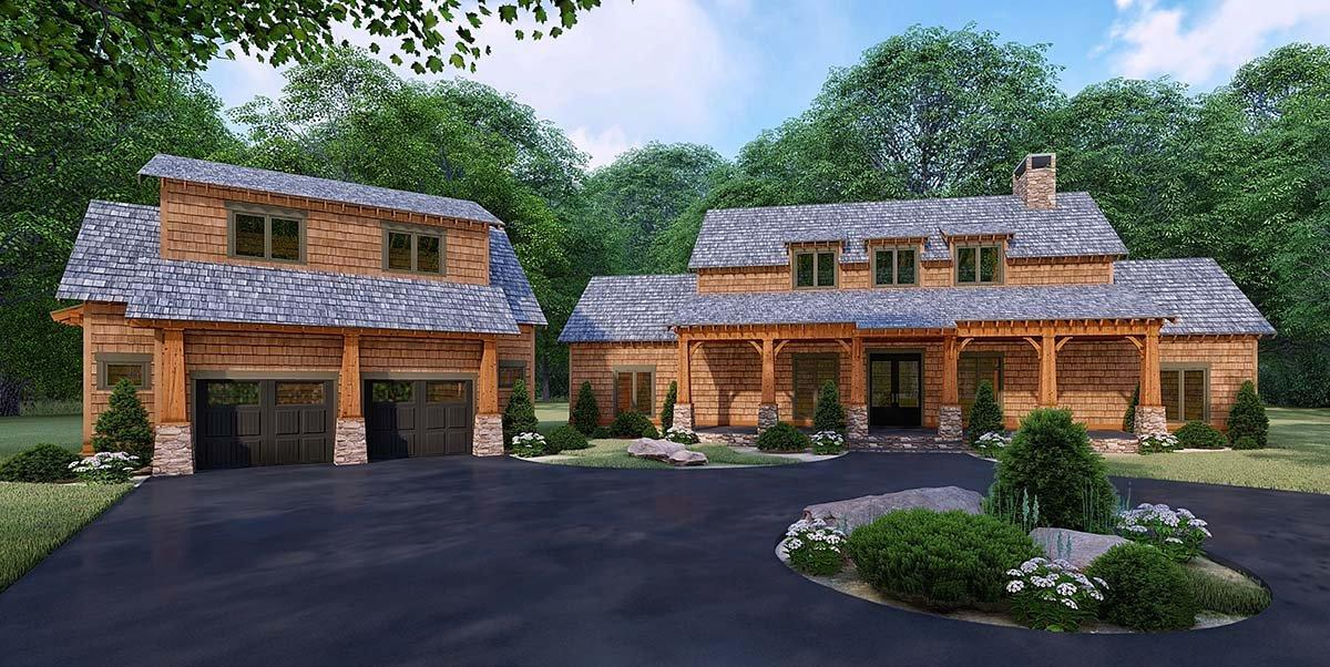Bungalow, Cabin, Country, Craftsman, Farmhouse House Plan 82528 with 3 Beds, 4 Baths, 2 Car Garage Elevation