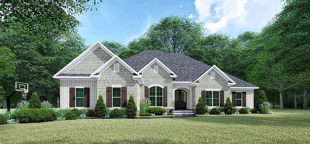 Bungalow, Craftsman, French Country, Traditional House Plan 82547 with 4 Beds, 4 Baths, 2 Car Garage Elevation