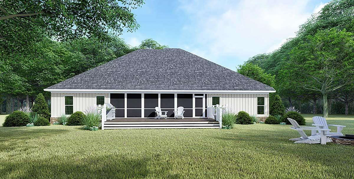 Bungalow, Craftsman, French Country, Traditional House Plan 82547 with 4 Beds, 4 Baths, 2 Car Garage Rear Elevation