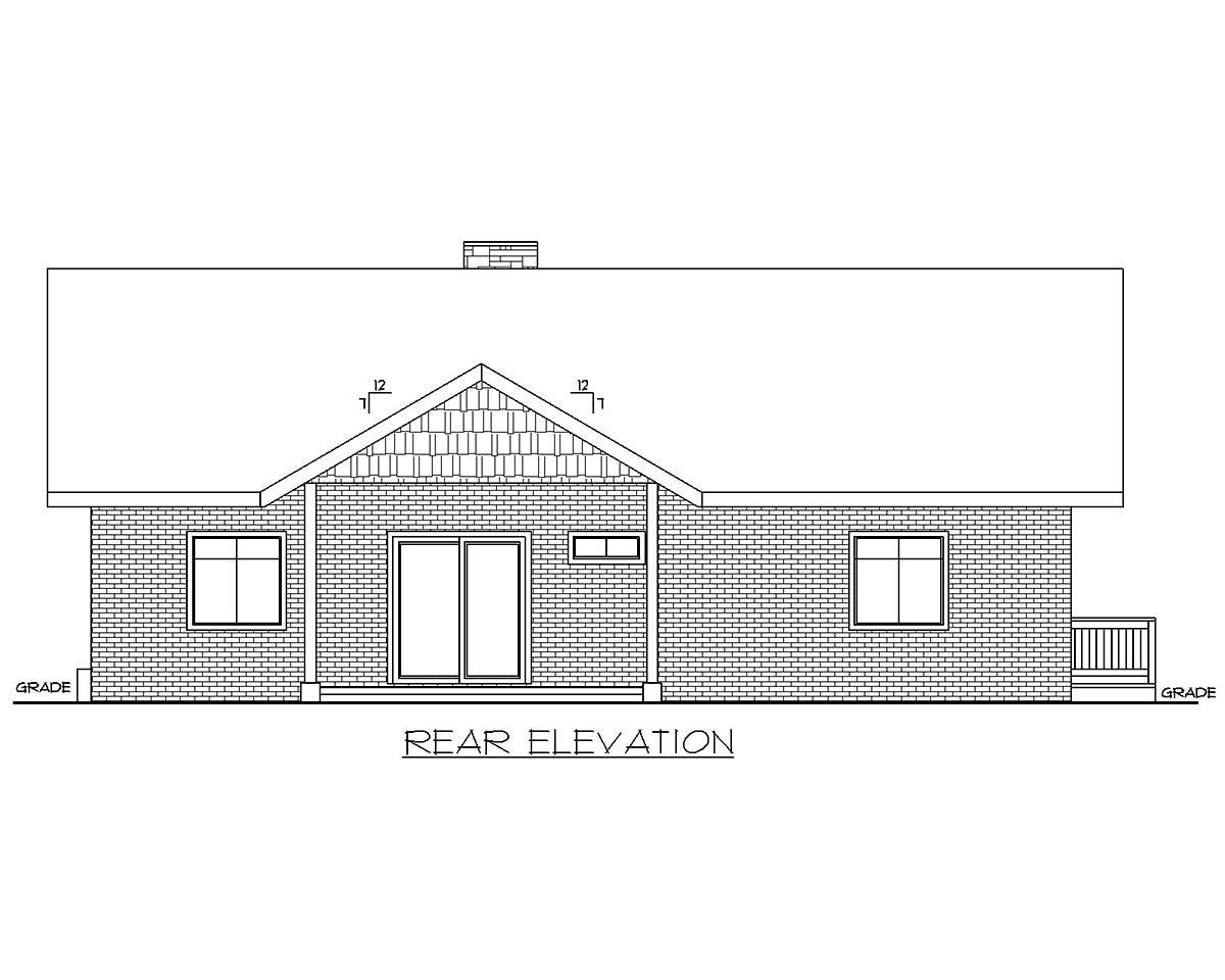 Traditional Garage-Living Plan 85137 with 2 Beds, 3 Baths, 2 Car Garage Rear Elevation