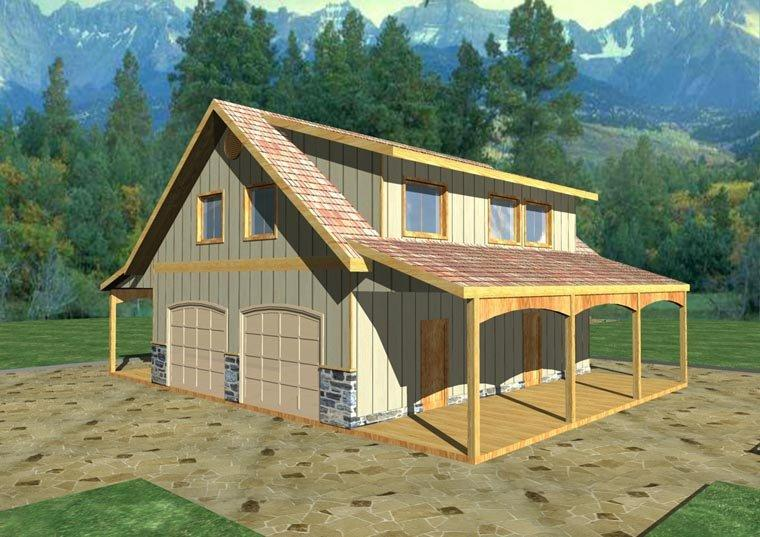 Country, Southern 4 Car Garage Apartment Plan 85207 with 2 Beds, 1 Baths Elevation