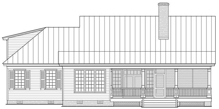 Country, Southern, Traditional House Plan 86349 with 3 Beds, 3 Baths, 2 Car Garage Rear Elevation