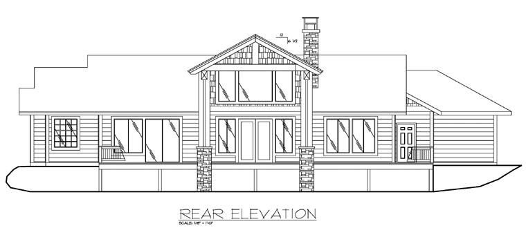 Contemporary, Traditional House Plan 87199 with 3 Beds, 3 Baths, 3 Car Garage Rear Elevation