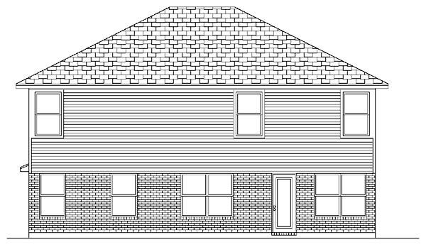Traditional House Plan 87909 with 5 Beds, 3 Baths, 2 Car Garage Rear Elevation