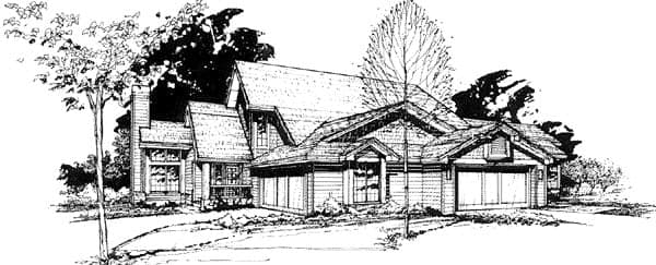 Traditional Multi-Family Plan 88410 with 4 Beds, 6 Baths, 4 Car Garage Elevation