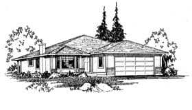 Southwest House Plan 90856 with 3 Beds, 2 Baths, 2 Car Garage Elevation