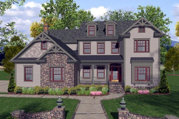 Craftsman, Traditional House Plan 92389 with 4 Beds, 4 Baths, 3 Car Garage Elevation