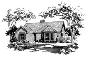 Ranch, Victorian House Plan 93005 with 3 Beds, 2 Baths Elevation