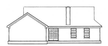 Cabin, One-Story, Ranch House Plan 93075 with 3 Beds, 2 Baths, 2 Car Garage Rear Elevation