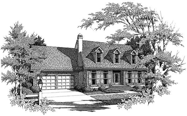 Cape Cod, Country, One-Story House Plan 93411 with 3 Beds, 3 Baths, 2 Car Garage Elevation