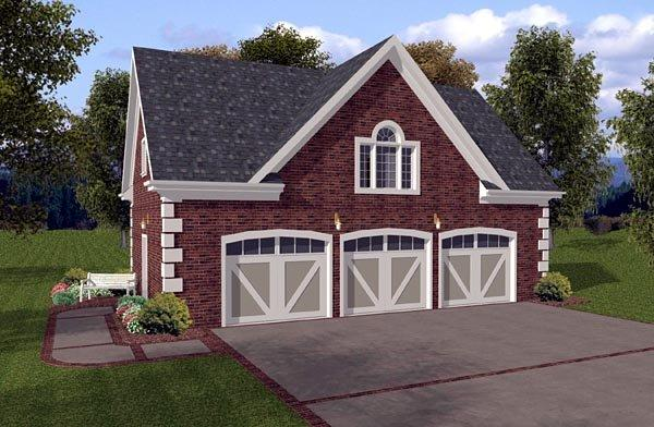 3 Car Garage Apartment Plan 93471 with 1 Beds, 1 Baths Elevation