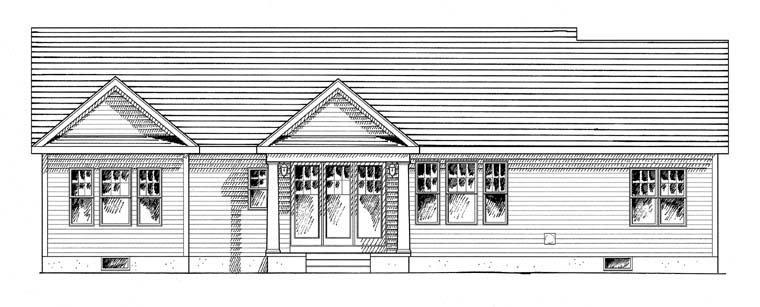 Cottage, Country, Craftsman, Ranch, Southern, Traditional House Plan 94182 with 3 Beds, 2 Baths, 2 Car Garage Rear Elevation