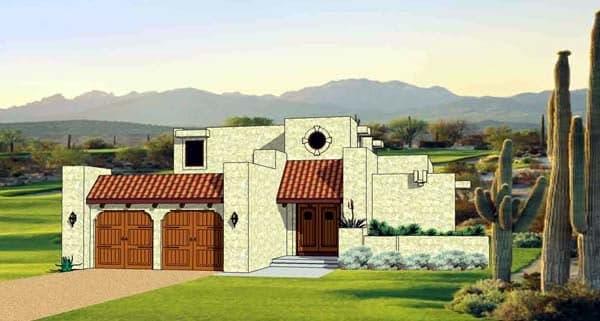 Santa Fe, Southwest House Plan 94489 with 3 Beds, 3 Baths, 2 Car Garage Elevation
