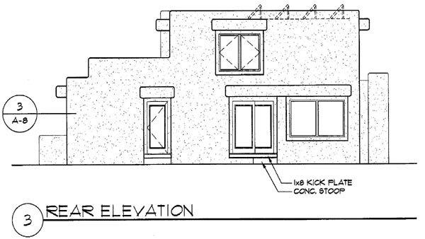 Santa Fe, Southwest House Plan 94489 with 3 Beds, 3 Baths, 2 Car Garage Rear Elevation