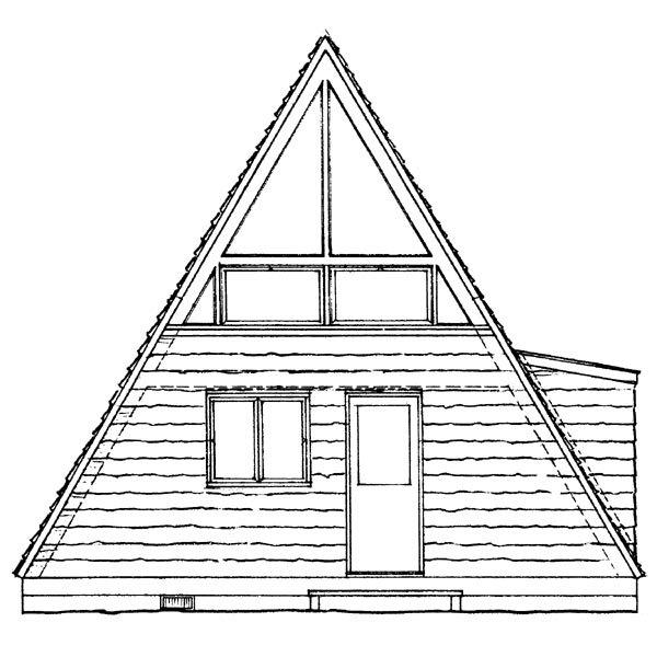 A-Frame, Contemporary, Retro House Plan 95007 with 1 Beds, 1 Baths Rear Elevation