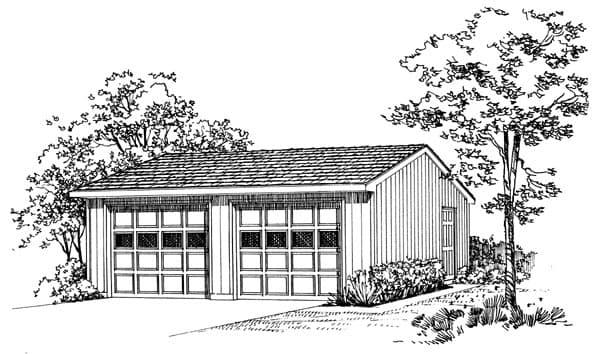 2 Car Garage Plan 95291 Elevation