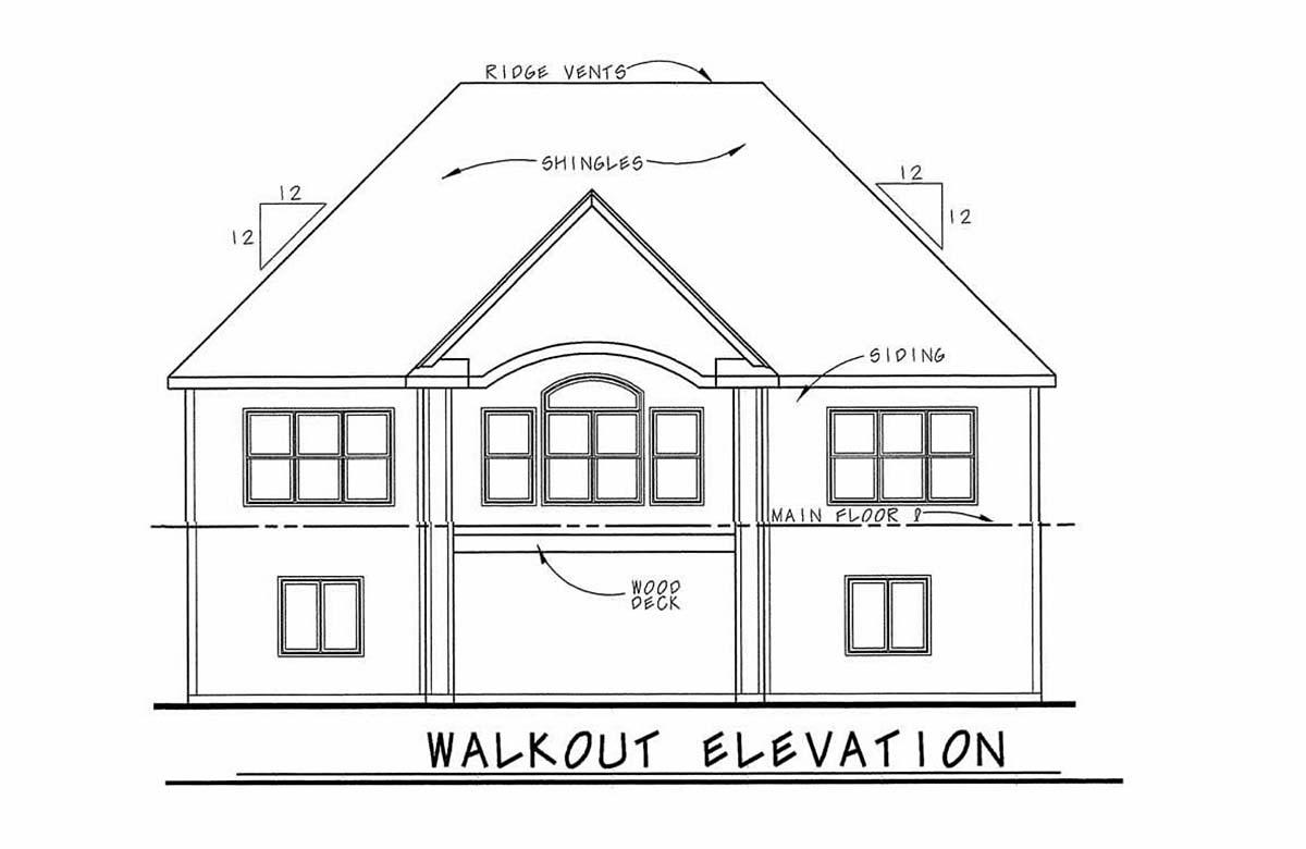Traditional House Plan 97995 with 4 Beds, 4 Baths, 2 Car Garage Rear Elevation