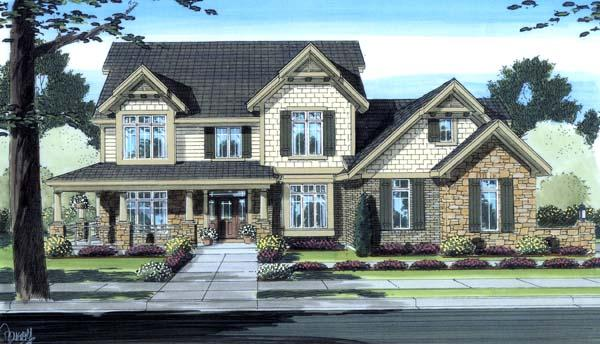 Country, Craftsman House Plan 98605 with 4 Beds, 3 Baths, 3 Car Garage Elevation