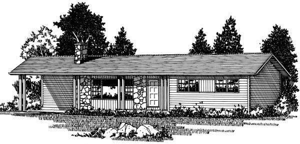 Bungalow, One-Story, Ranch House Plan 99919 with 3 Beds, 2 Baths, 1 Car Garage Elevation