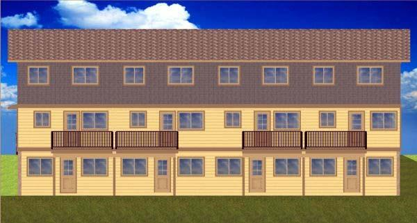 Multi-Family Plan 99988 with 8 Beds, 8 Baths Rear Elevation