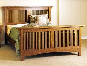 Product code dp 00424 arts crafts bed woodworking plan for Arts and crafts bed plans