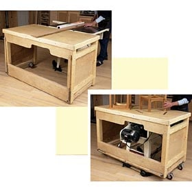 Space-Saving Double-Duty Tablesaw Workbench Woodworking Plan - Product Code DP-00553