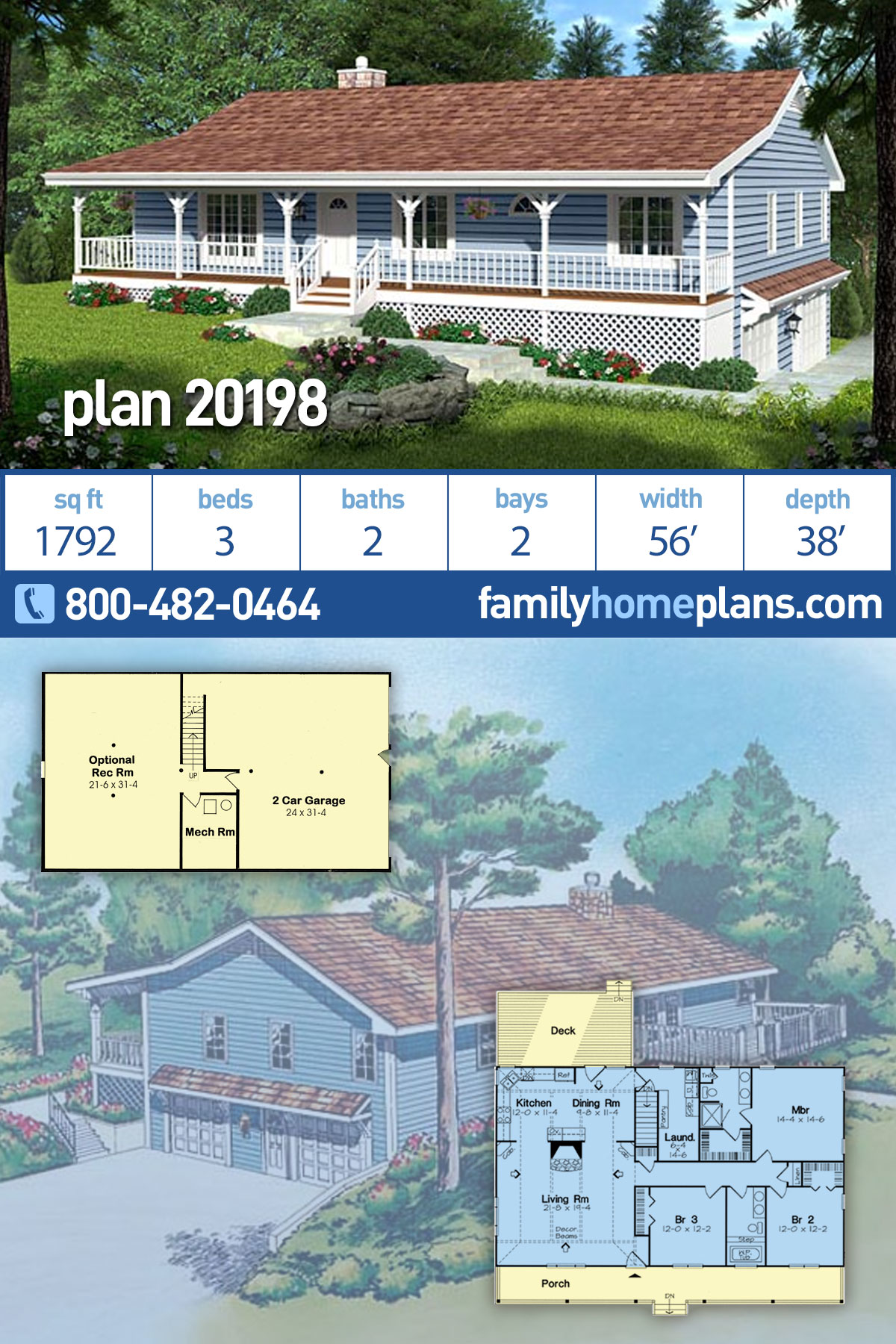 Country, Traditional House Plan 20198 with 3 Beds, 2 Baths, 2 Car Garage