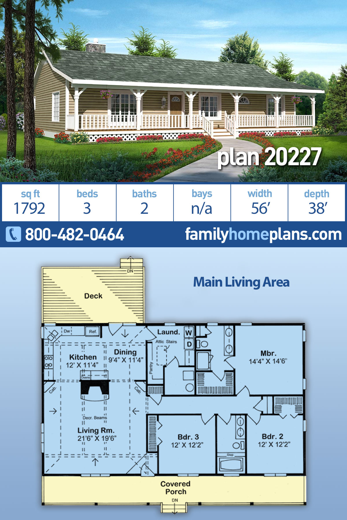 Country , Ranch , Traditional House Plan 20227 with 3 Beds, 2 Baths