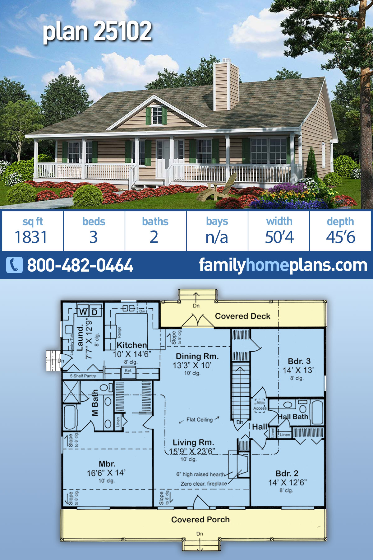 Country, Ranch, Traditional House Plan 25102 with 3 Beds, 2 Baths